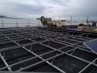 High quality and durable framing which is also very flexible to allow for installation on this slightly curving butynol roof space.